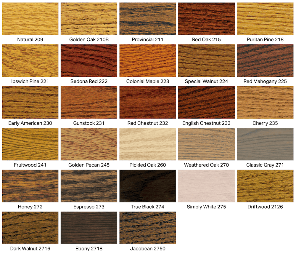 stain colors we offer