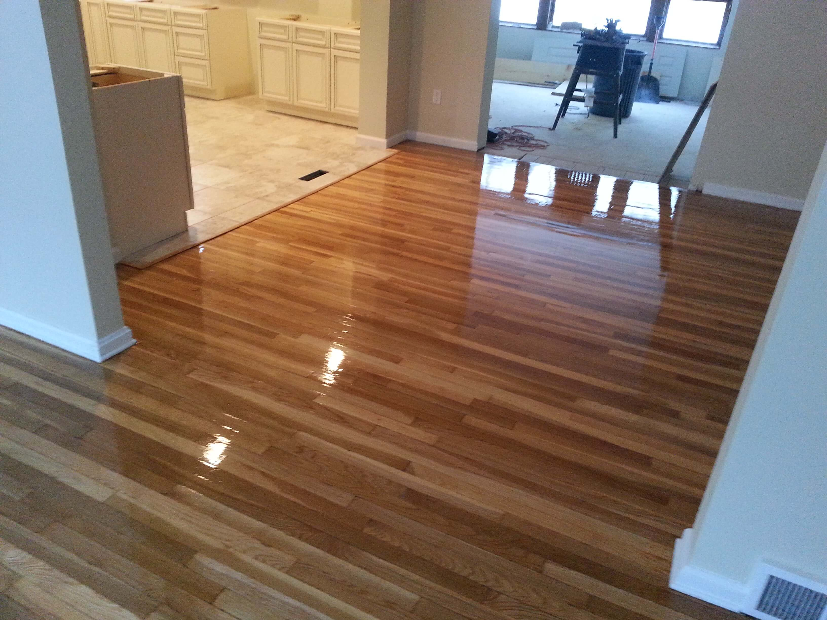a recently refinished hardwood floor in the Houston, TX area