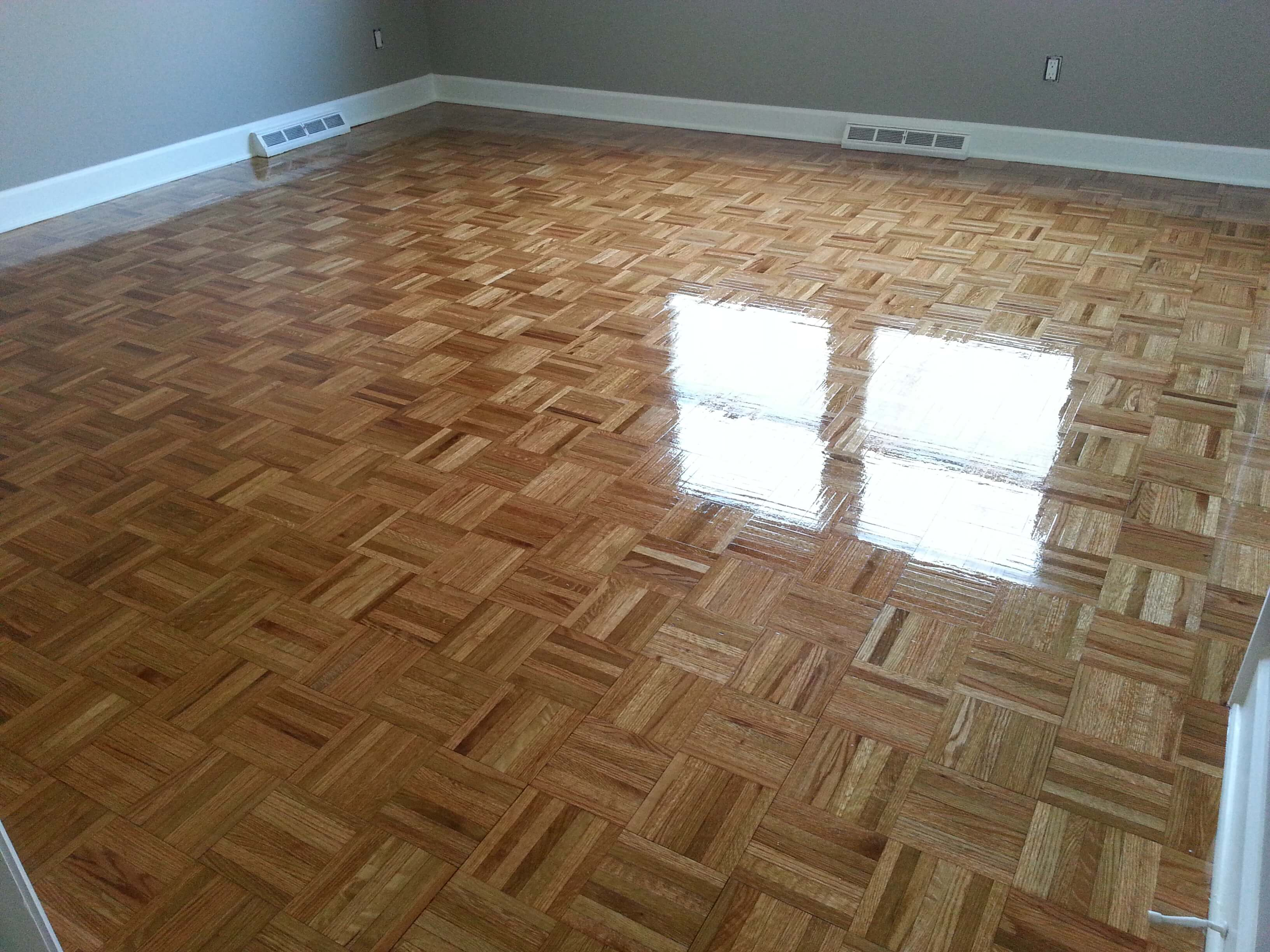 a resurfaced parquet hardwood floor