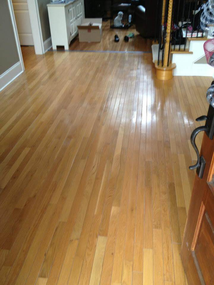 a light colored wood floor showing minor signs of damage