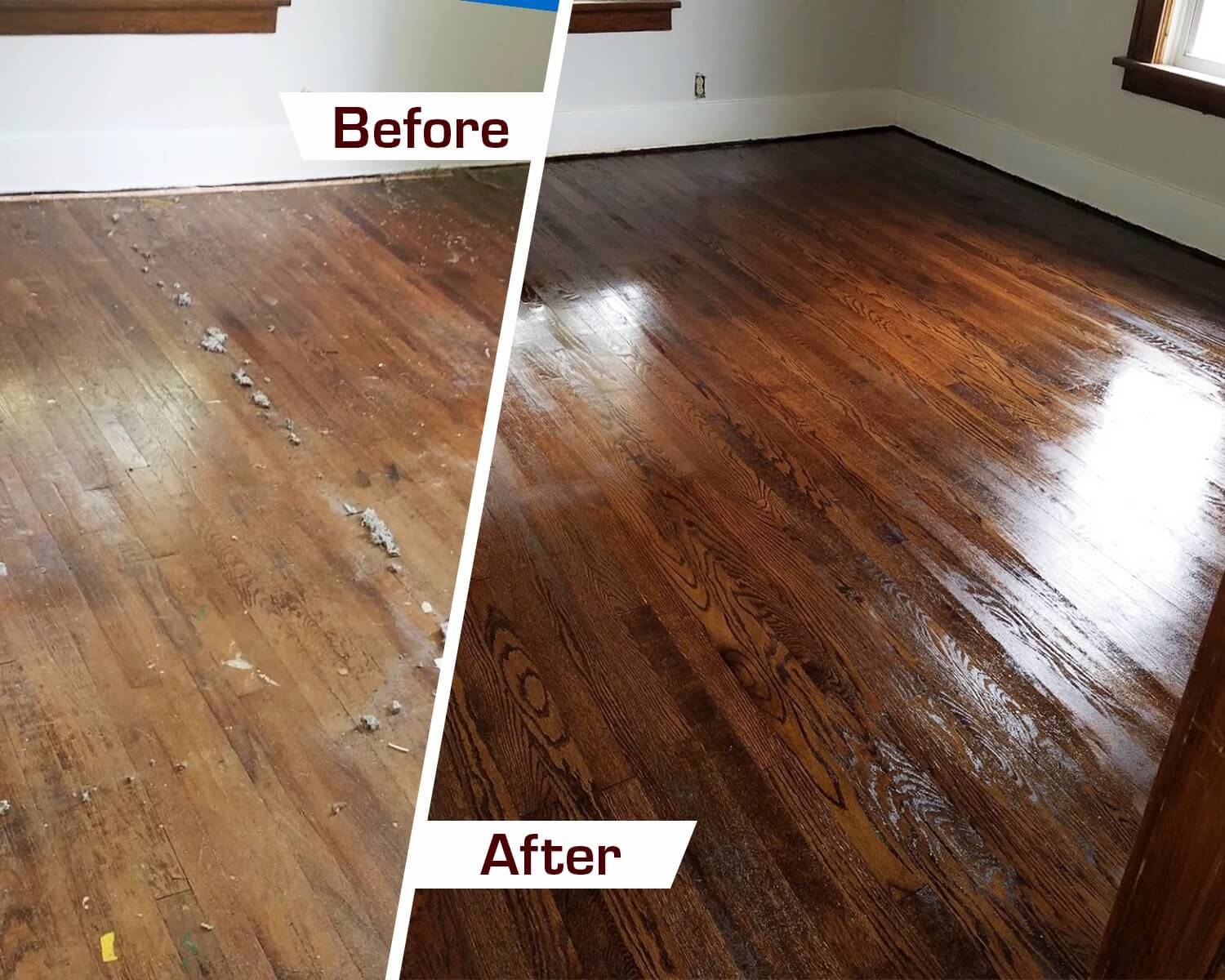 a before and after shot of a Fabulous Floors Houston Refinishing project